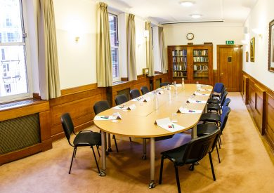 The Reading room boardroom layout at the The Priory Rooms meeting venue in Birmingham