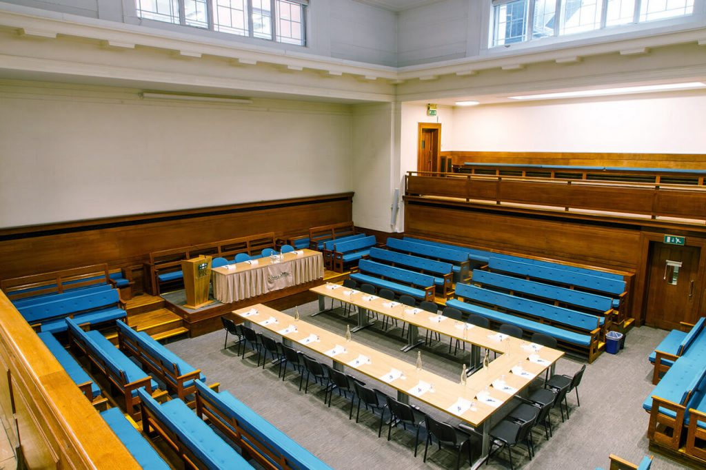 The Main Meeting House with tables at the The Priory Rooms meeting venue in Birmingham