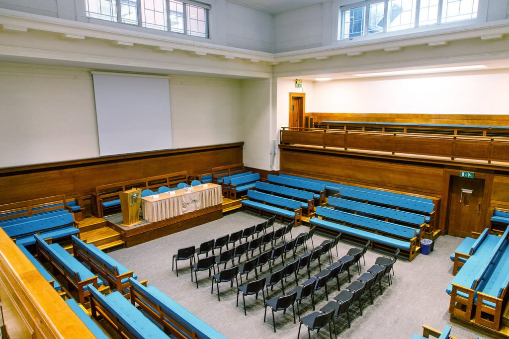 The Main Meeting House with chairs at the The Priory Rooms meeting venue in Birmingham