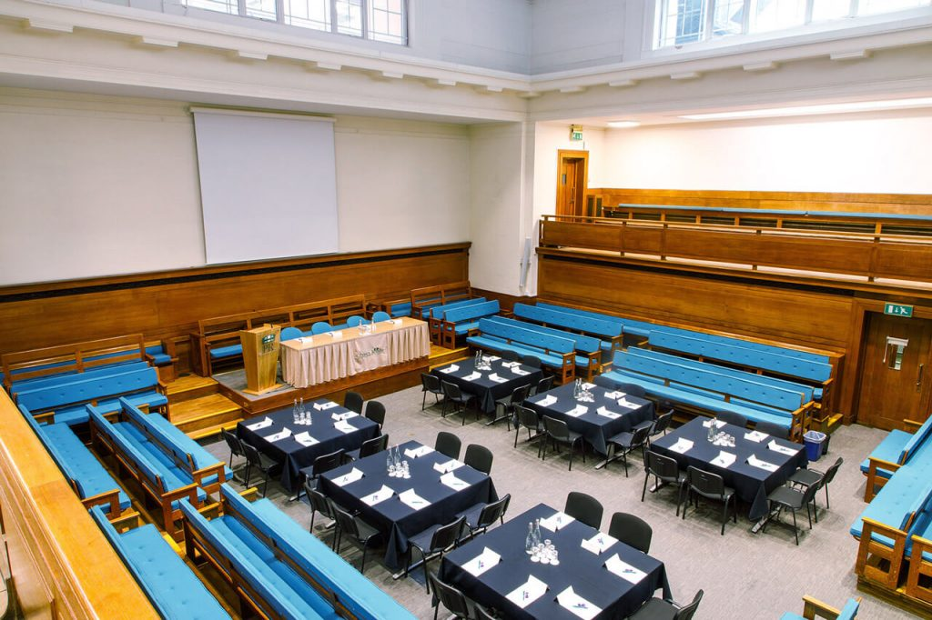 The Main Meeting House with an aerial view at the The Priory Rooms meeting venue in Birmingham