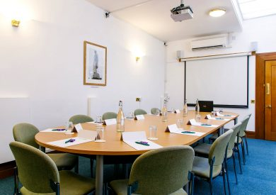 The Sturge room boardroom layout at the The Priory Rooms meeting venue in Birmingham